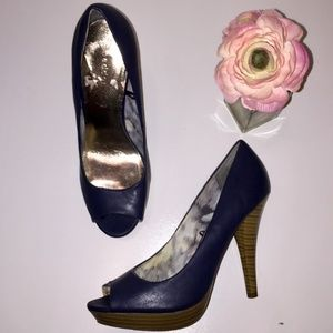 Madden Girl navy peep toe stacked heels